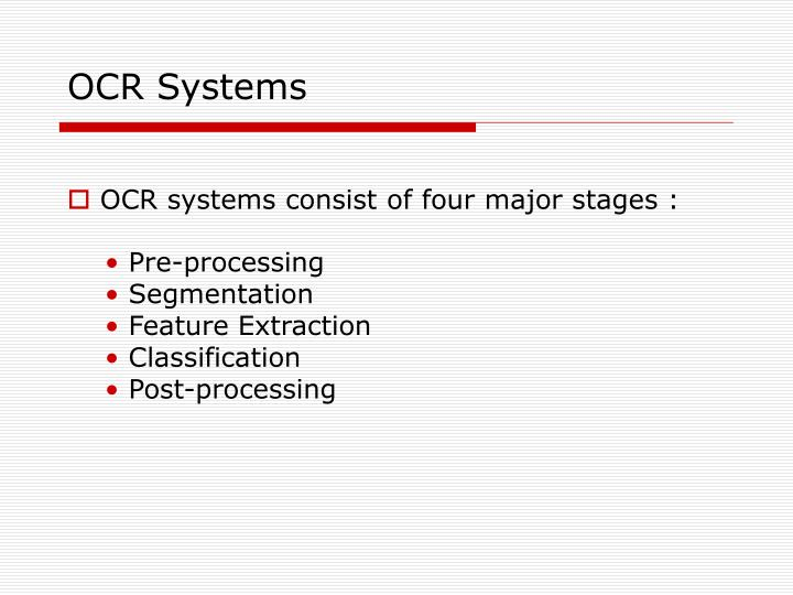 Ocr systems