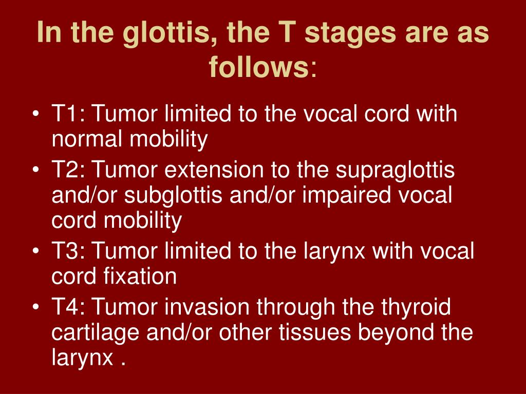 In the glottis, the T stages are as follows