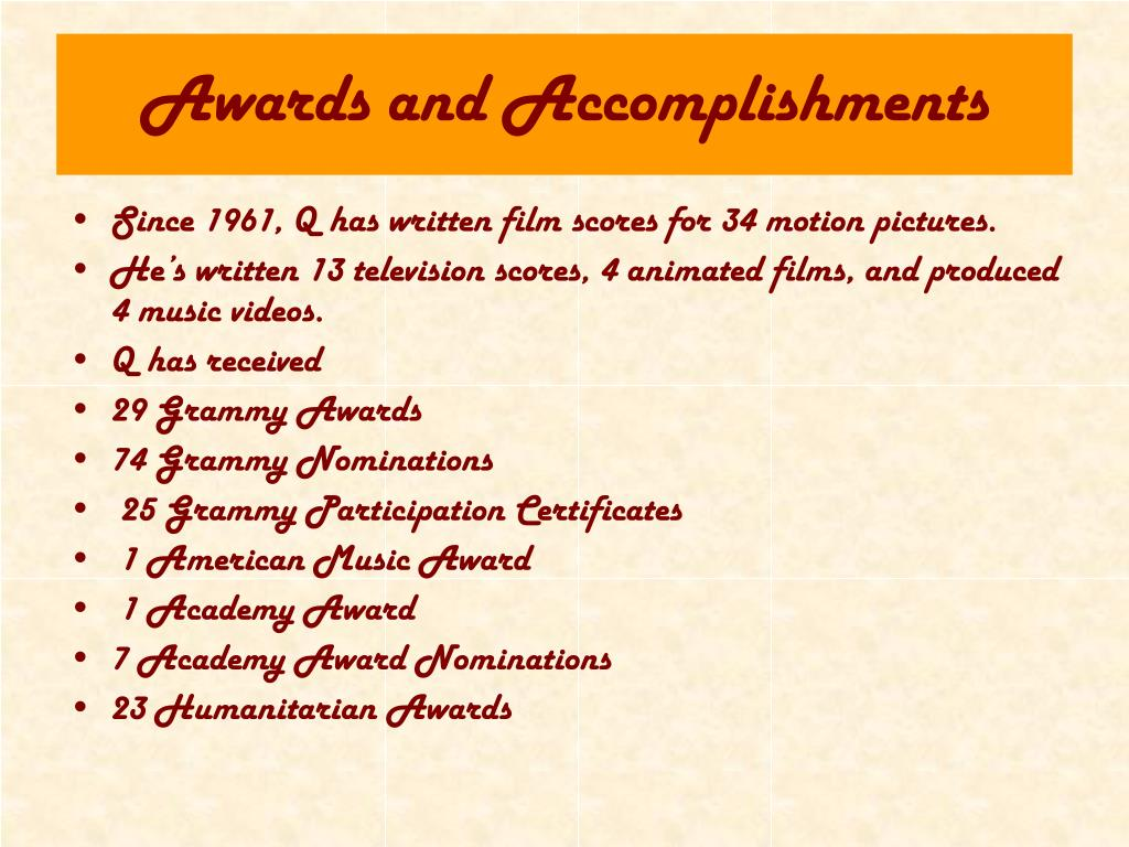 Awards and Accomplishments