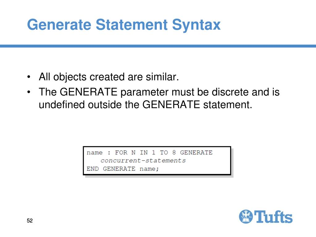 Generate Statement Syntax