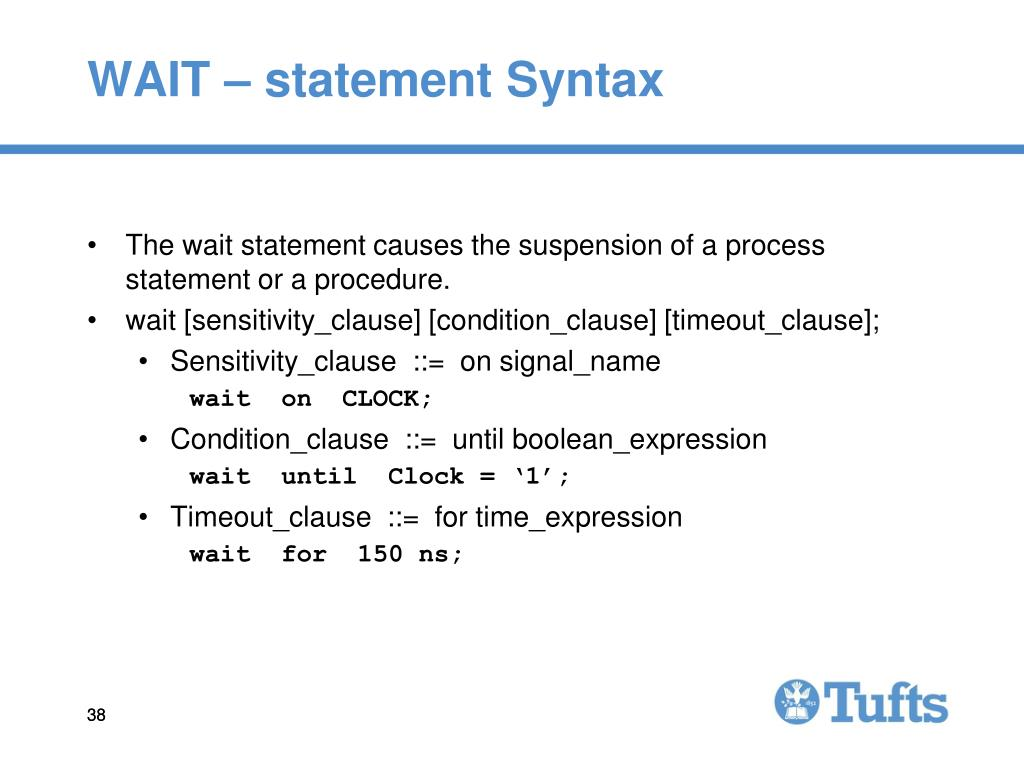 WAIT – statement Syntax