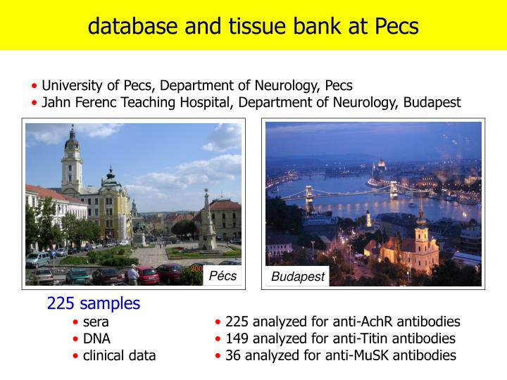 Database and tissue bank at Pecs