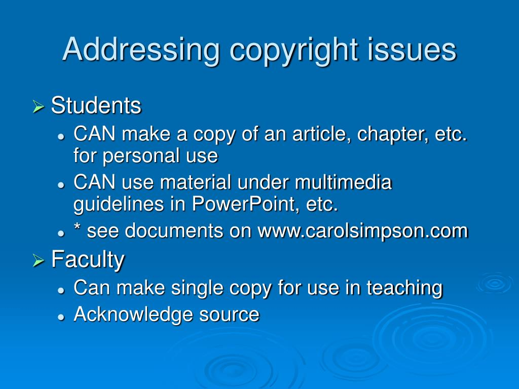 Addressing copyright issues