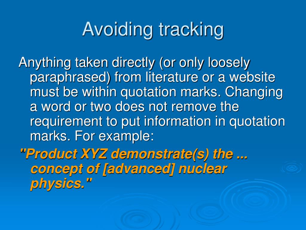 Avoiding tracking