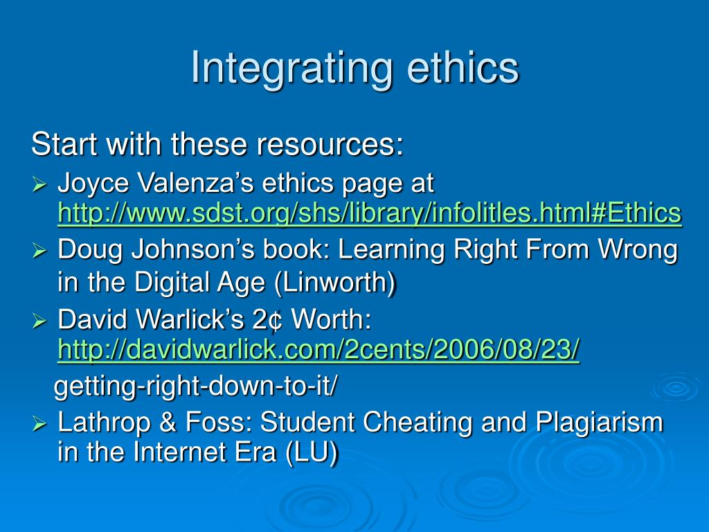 Integrating ethics