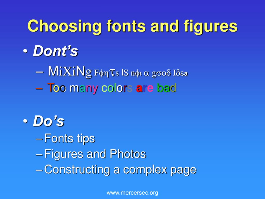 Choosing fonts and figures