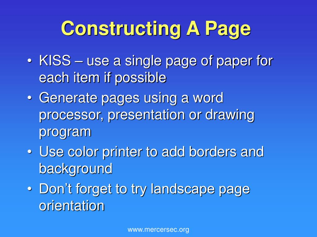 Constructing A Page