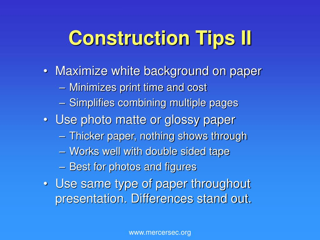 Construction Tips II