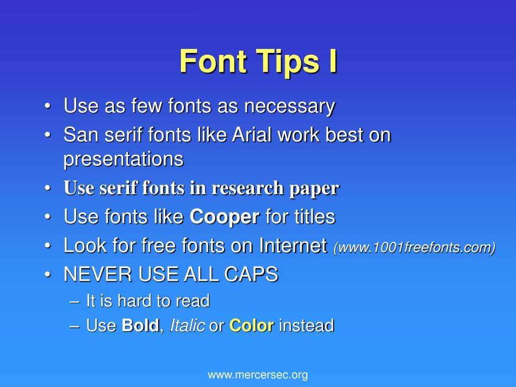 Font Tips I