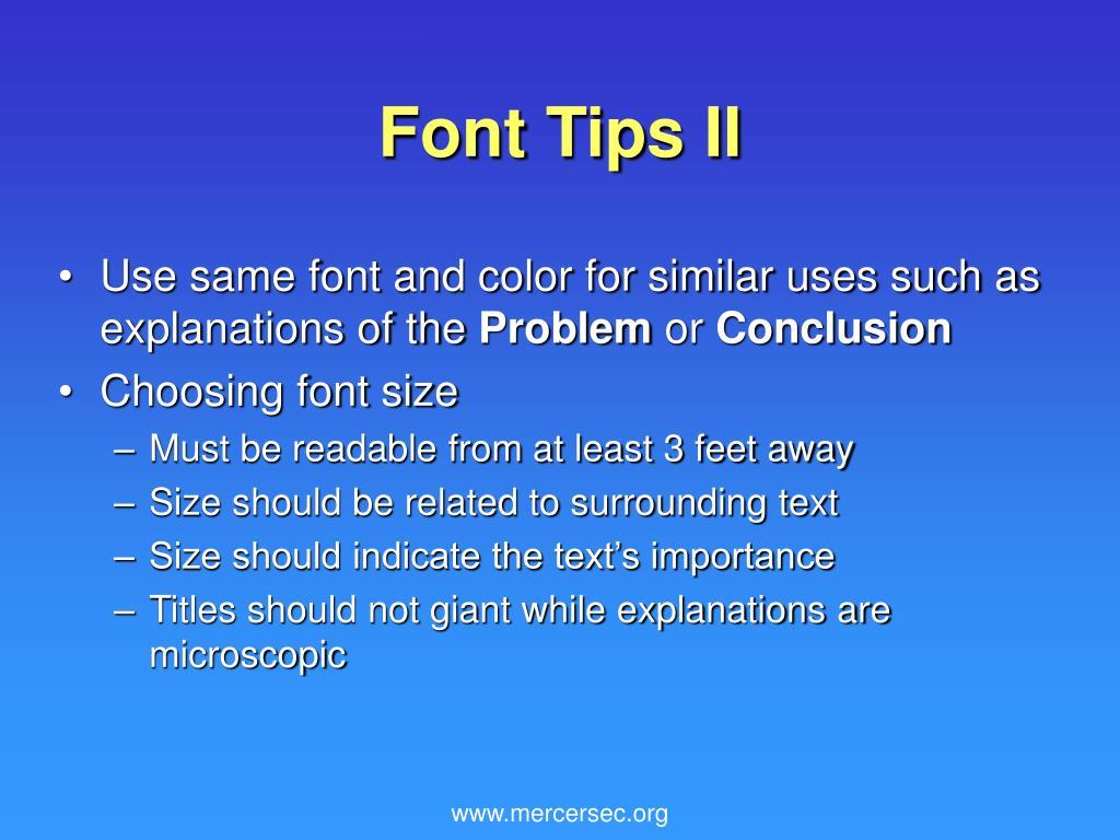 Font Tips II