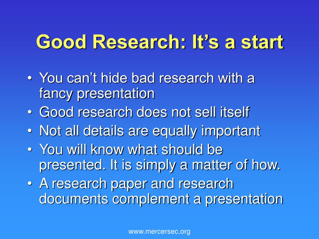 Good Research: It's a start