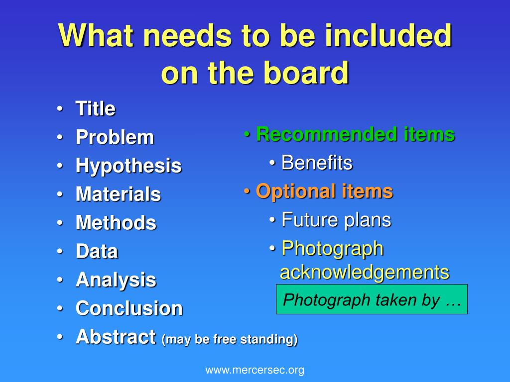 What needs to be included on the board
