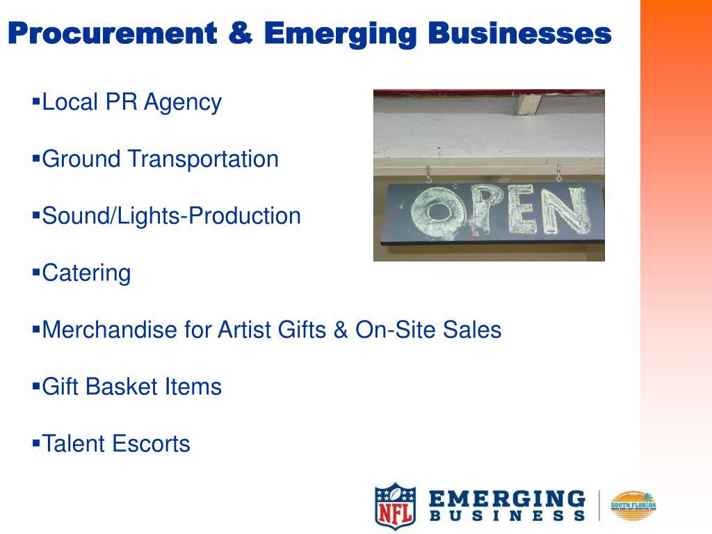 Procurement & Emerging Businesses