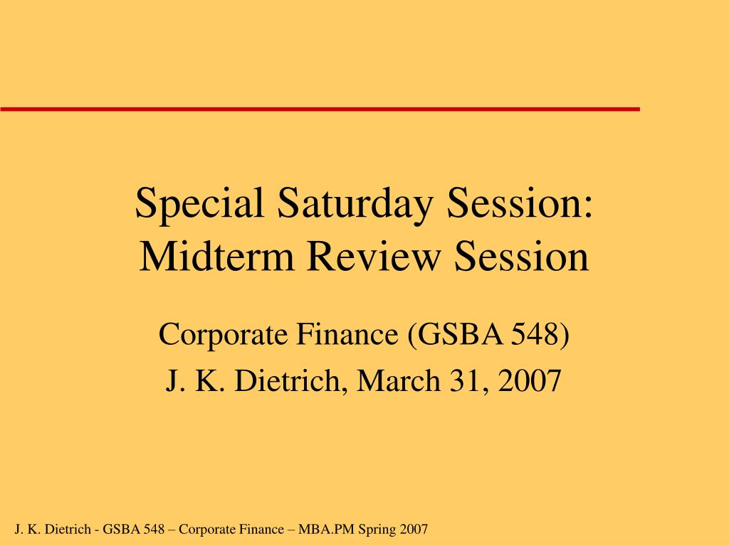 Special Saturday Session: