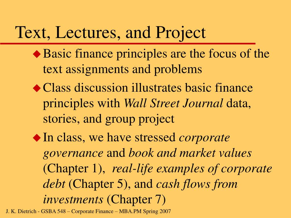 Text, Lectures, and Project