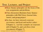 text lectures and project
