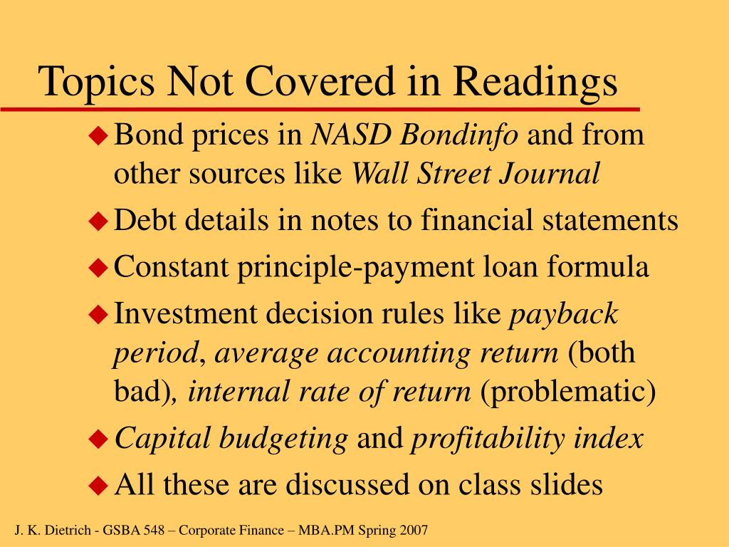 Topics Not Covered in Readings