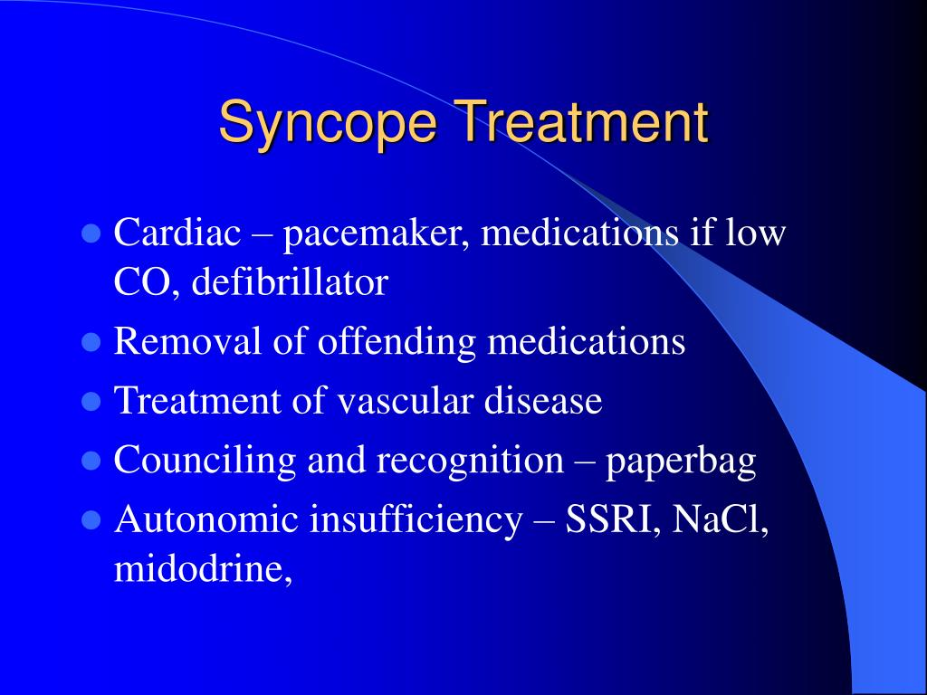 Syncope Treatment