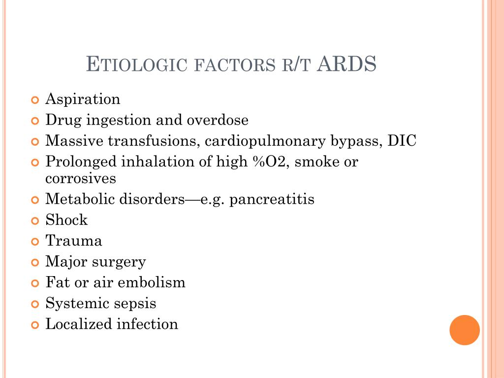 Etiologic factors r/t ARDS