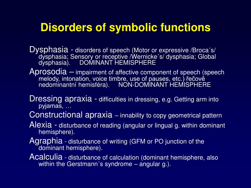 Disorders of symbolic functions