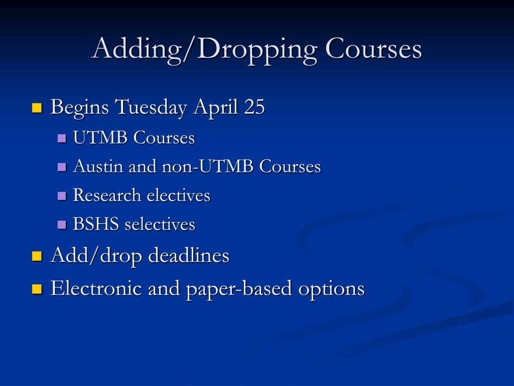 Adding/Dropping Courses