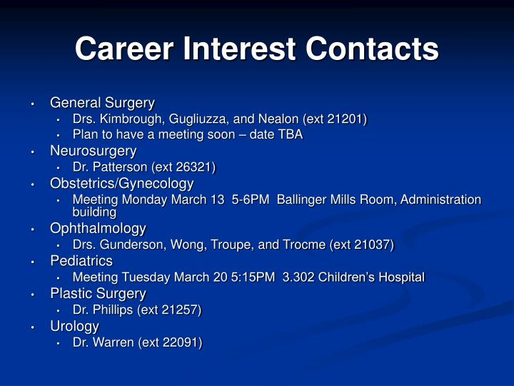 Career interest contacts