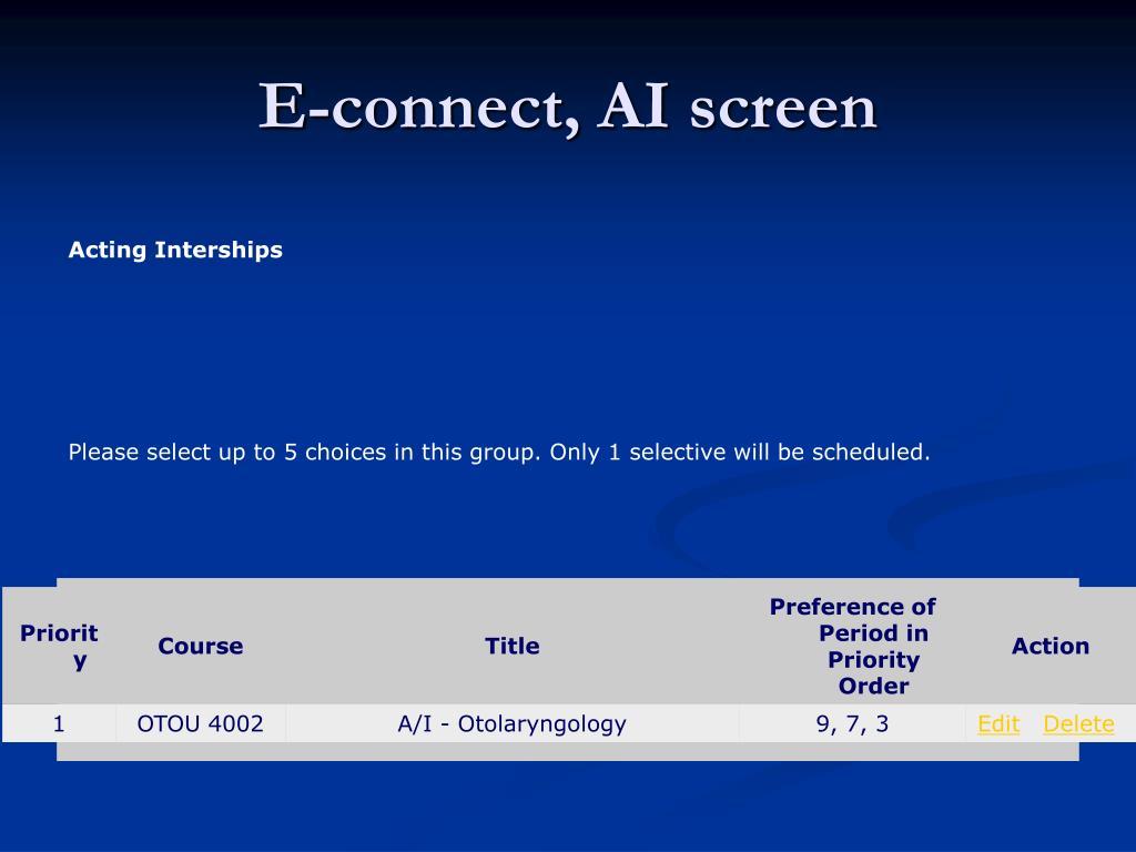 E-connect, AI screen