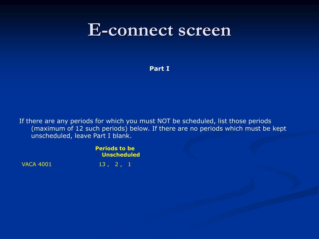 E-connect screen
