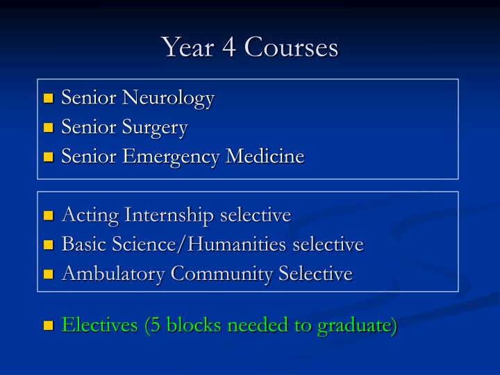 Year 4 courses