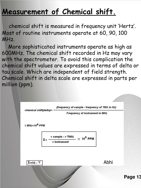 Measurement of Chemical shift.