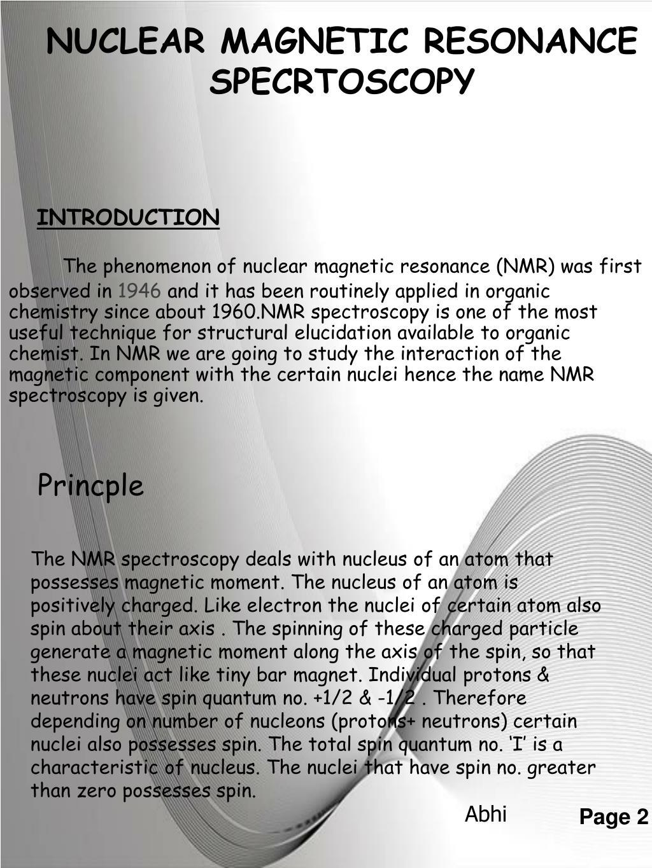 NUCLEAR MAGNETIC RESONANCE SPECRTOSCOPY