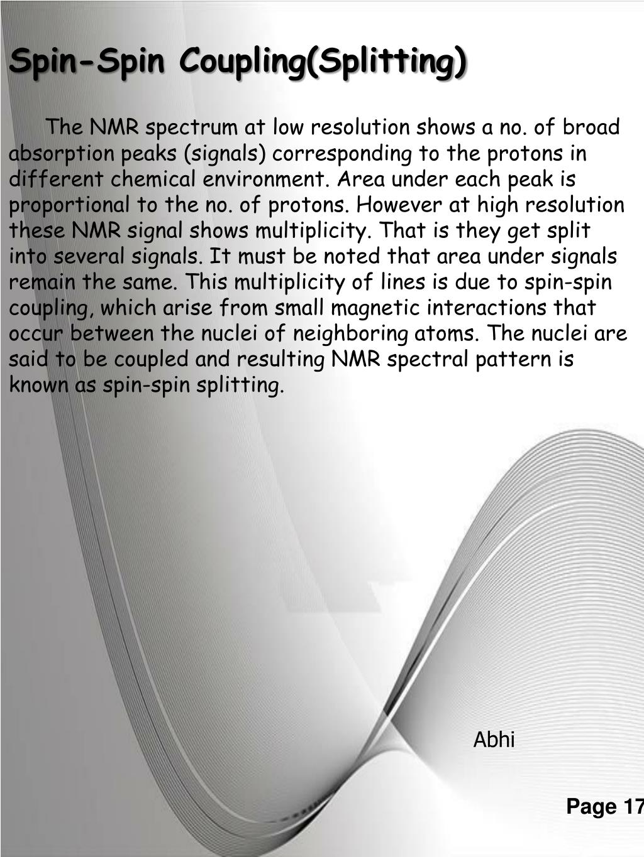 Spin-Spin Coupling(Splitting)