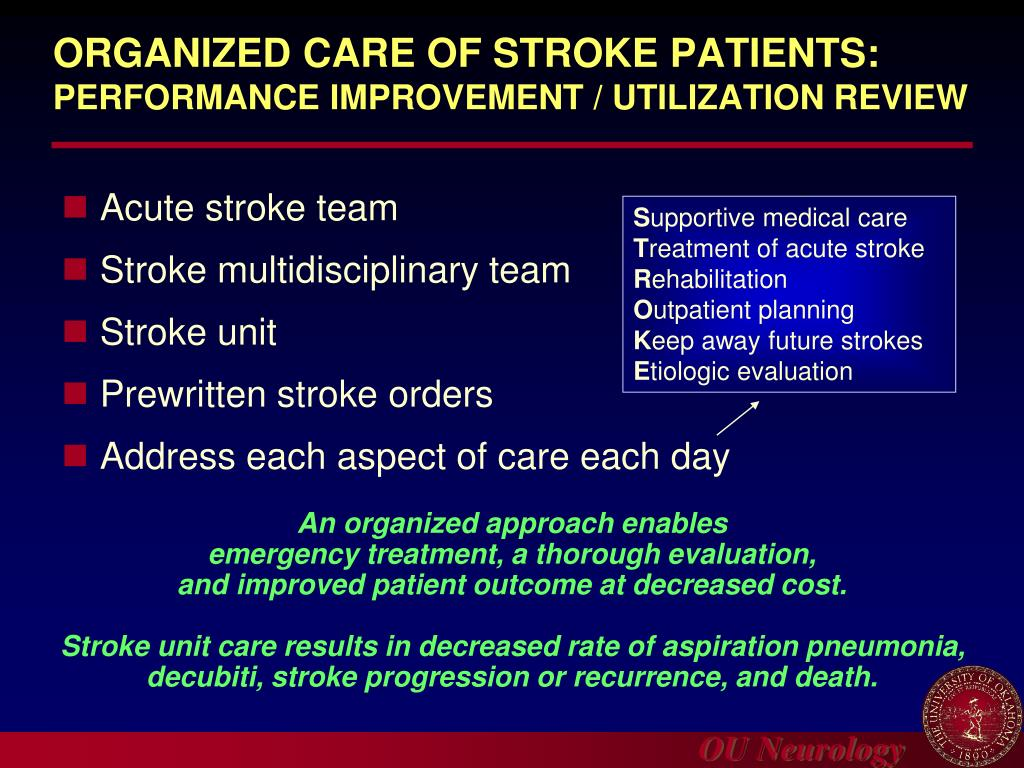 ORGANIZED CARE OF STROKE PATIENTS: