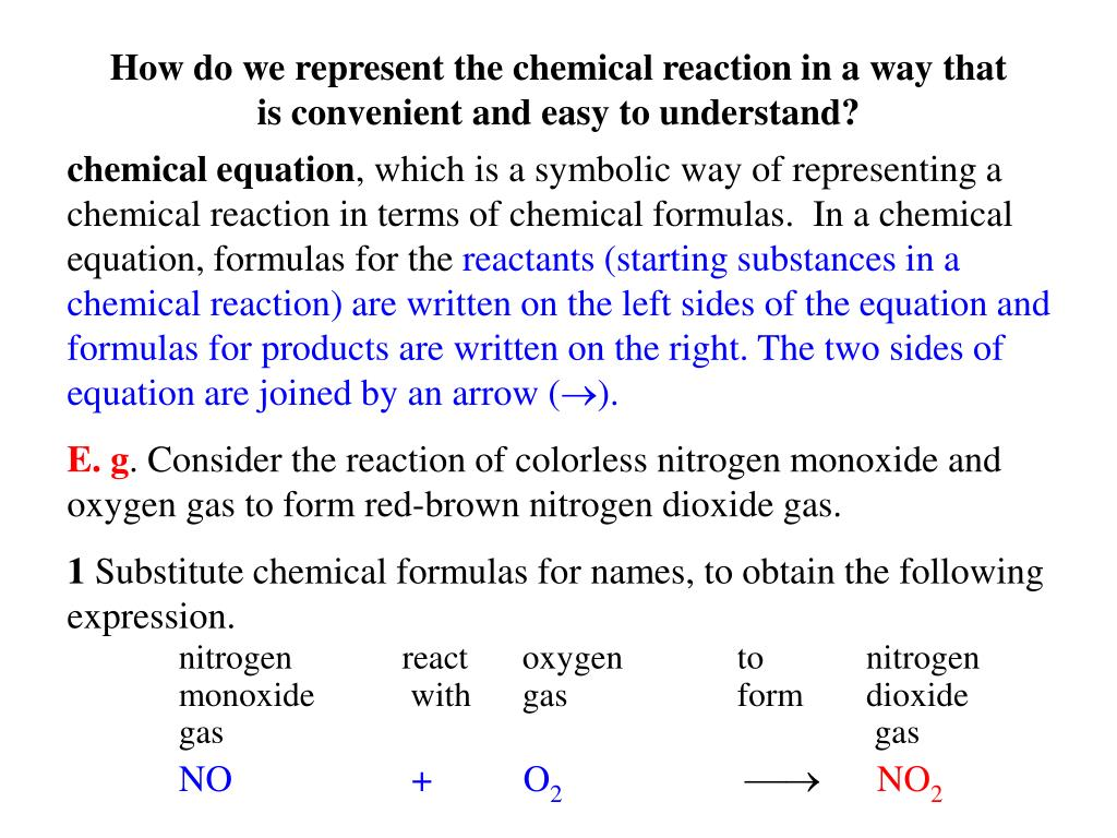 How do we represent the chemical reaction in a way that is convenient and easy to understand?