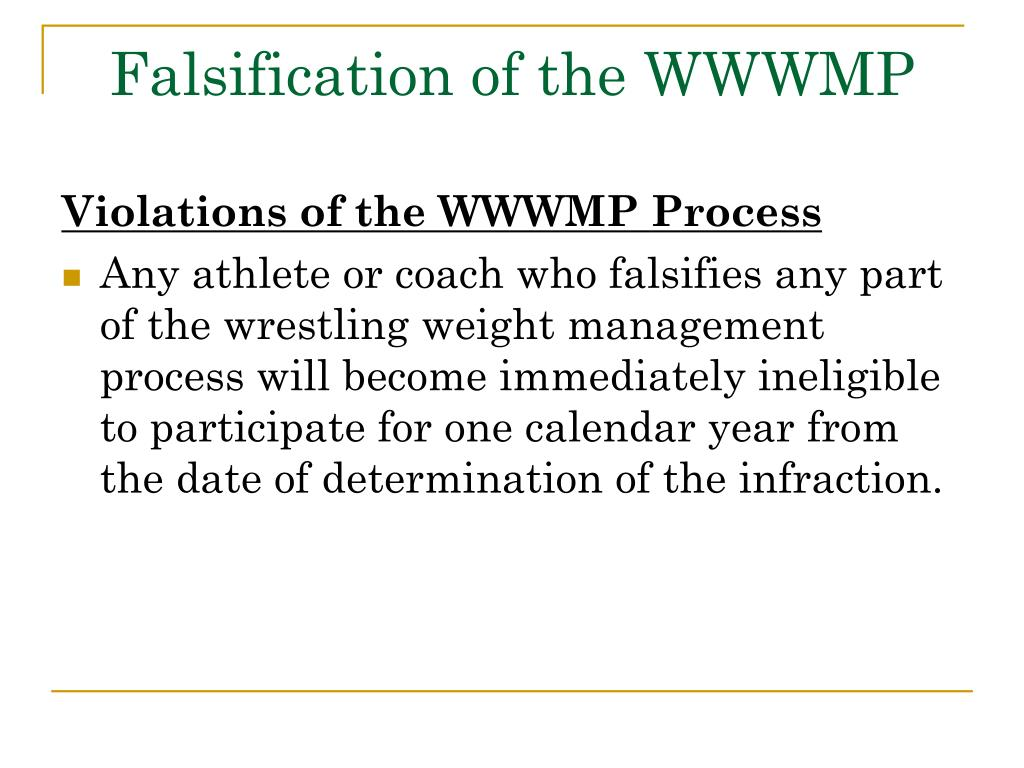 Falsification of the WWWMP