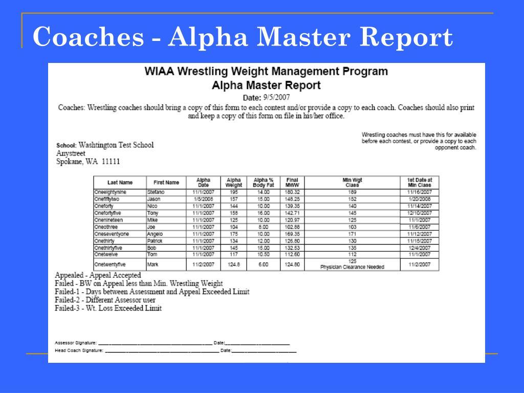 Coaches - Alpha Master Report