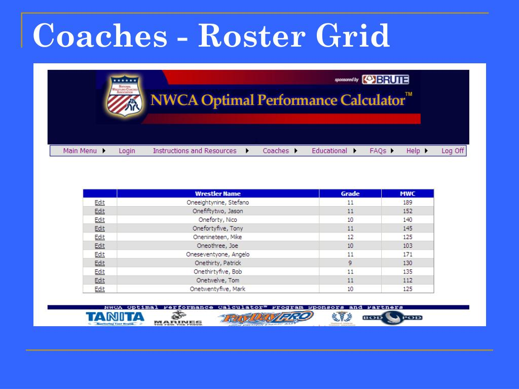 Coaches - Roster Grid