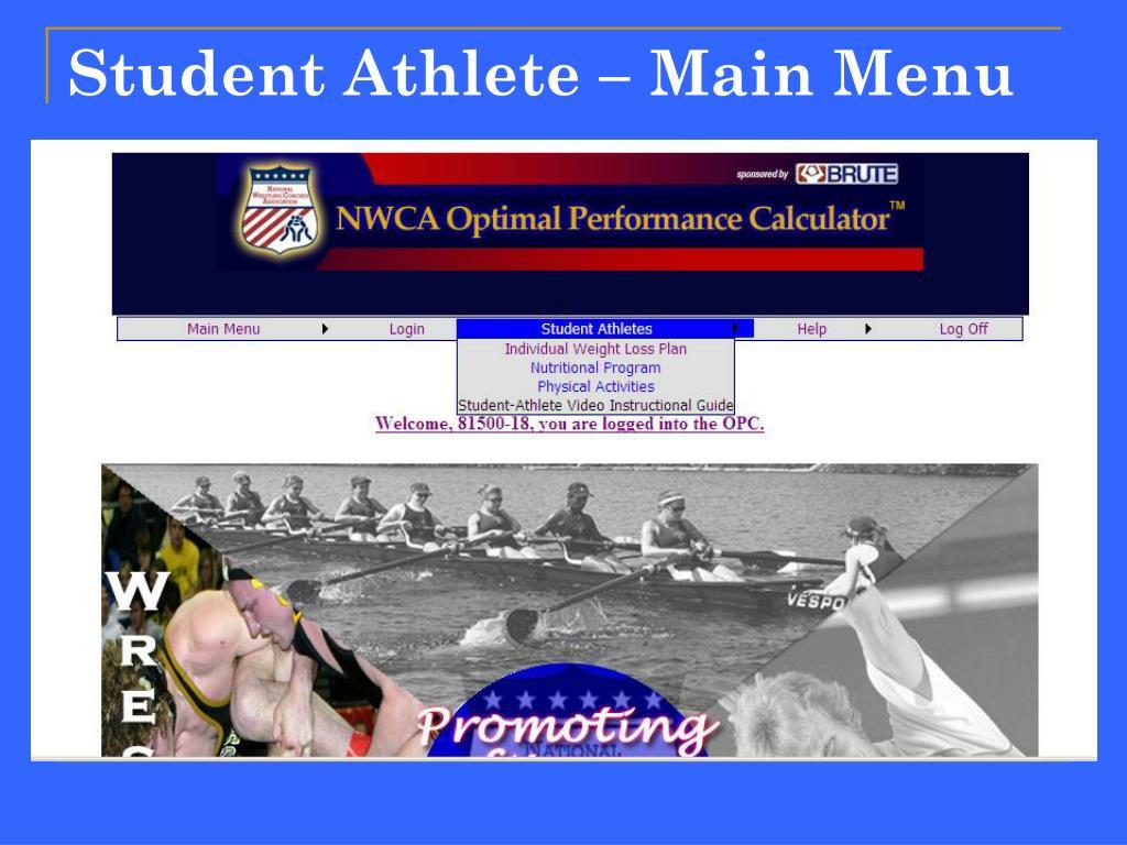 Student Athlete – Main Menu