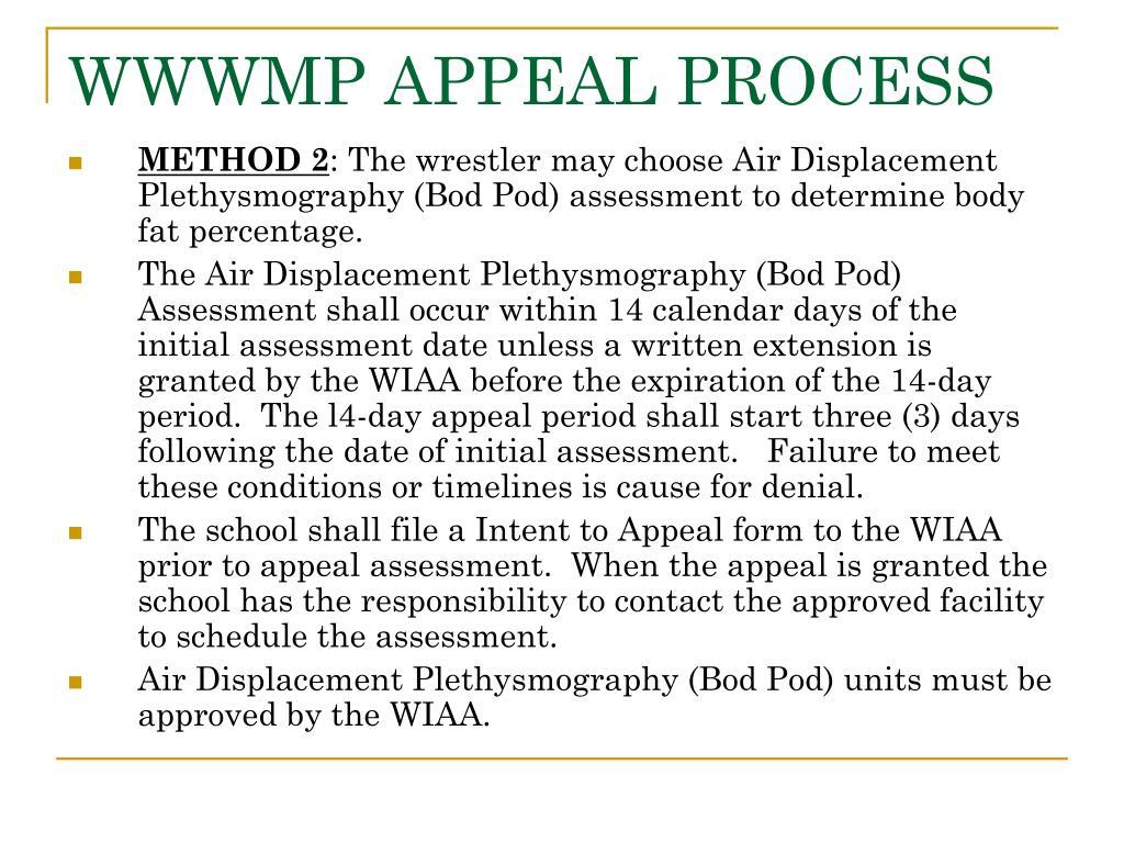 WWWMP APPEAL PROCESS