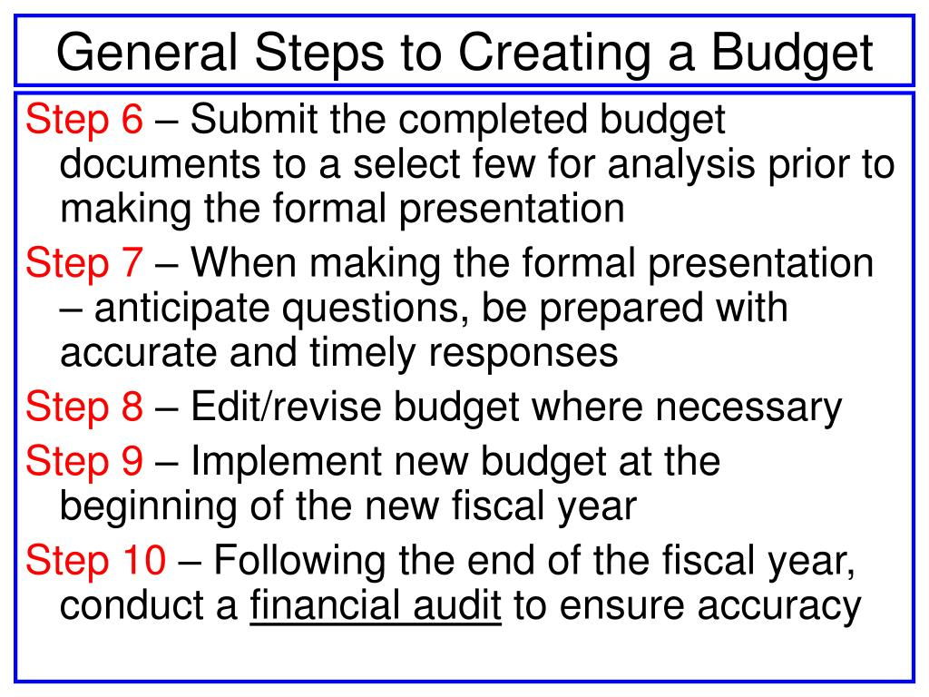 General Steps to Creating a Budget