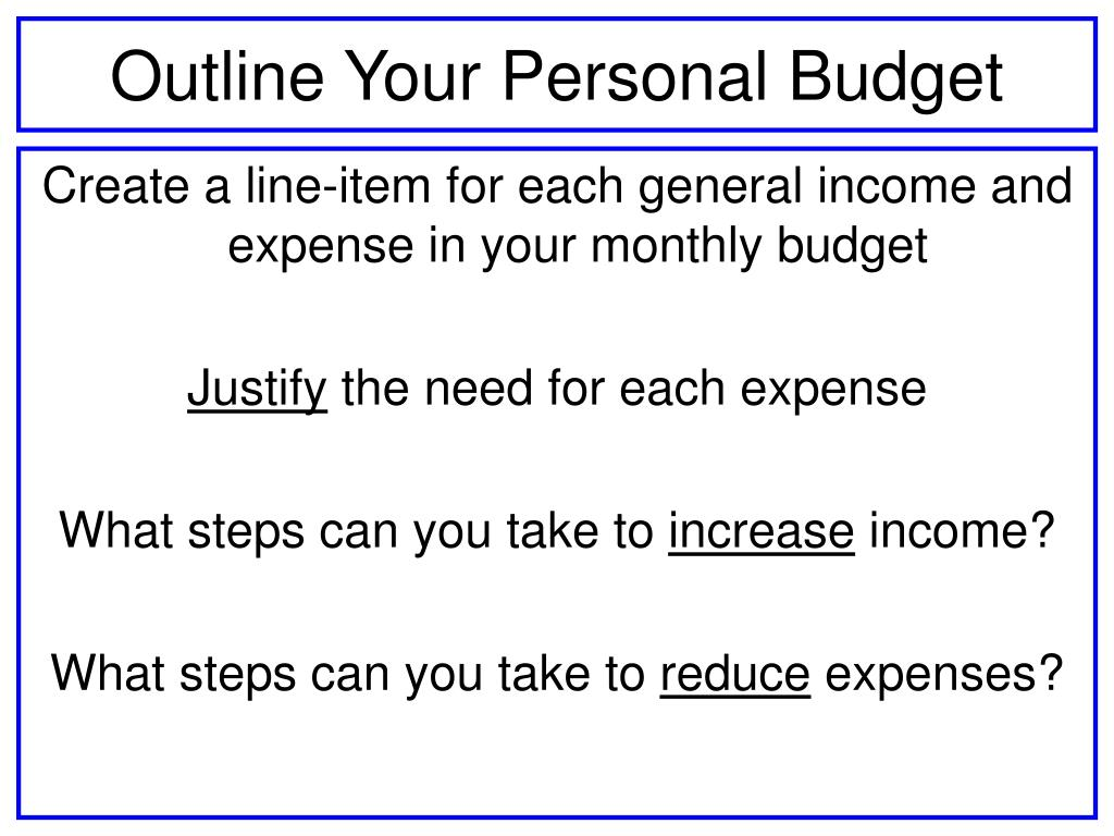 Outline Your Personal Budget