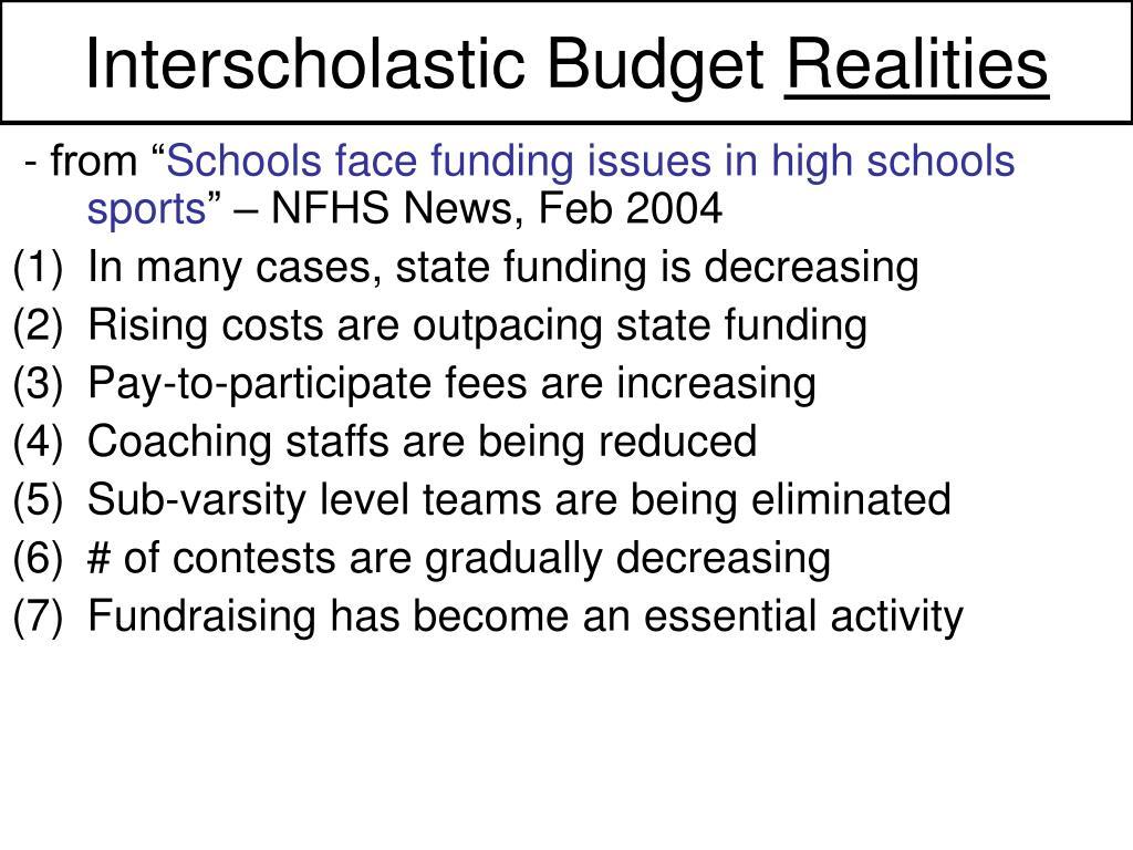Interscholastic Budget