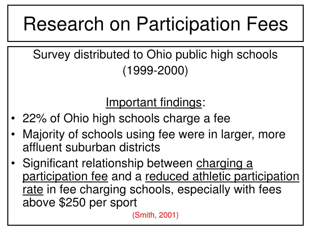 Research on Participation Fees