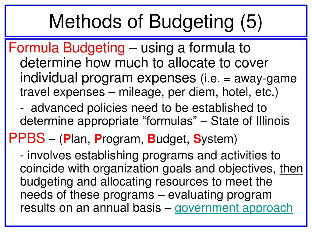 Methods of Budgeting (5)