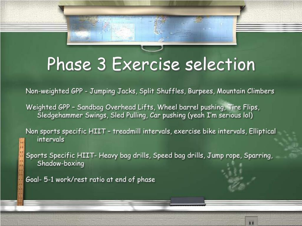 Phase 3 Exercise selection