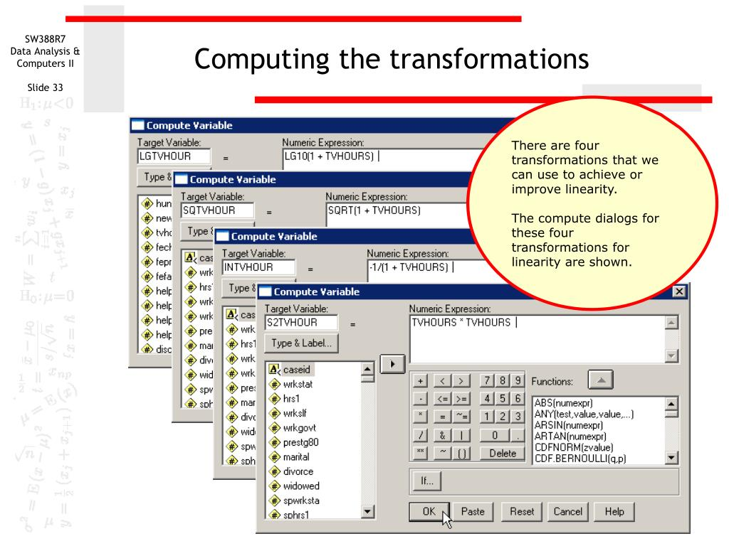 Computing the transformations