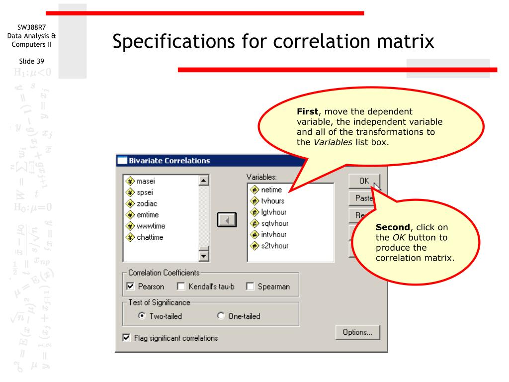 Specifications for correlation matrix