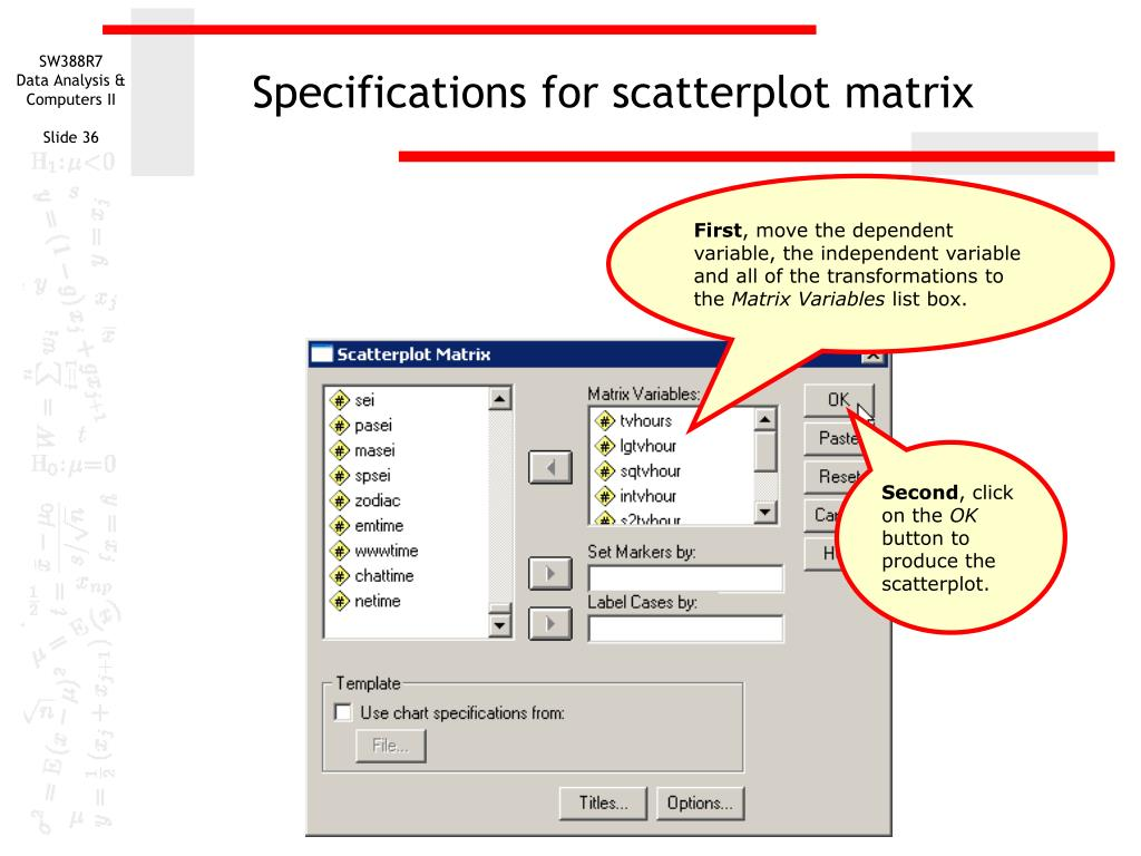 Specifications for scatterplot matrix