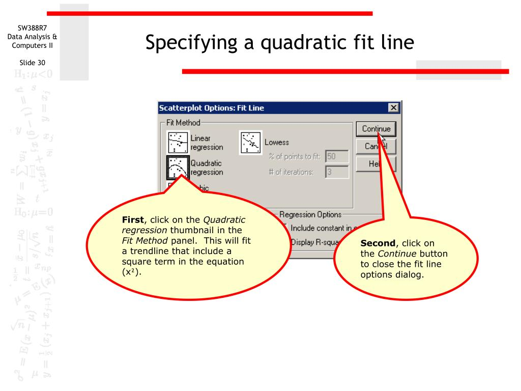 Specifying a quadratic fit line