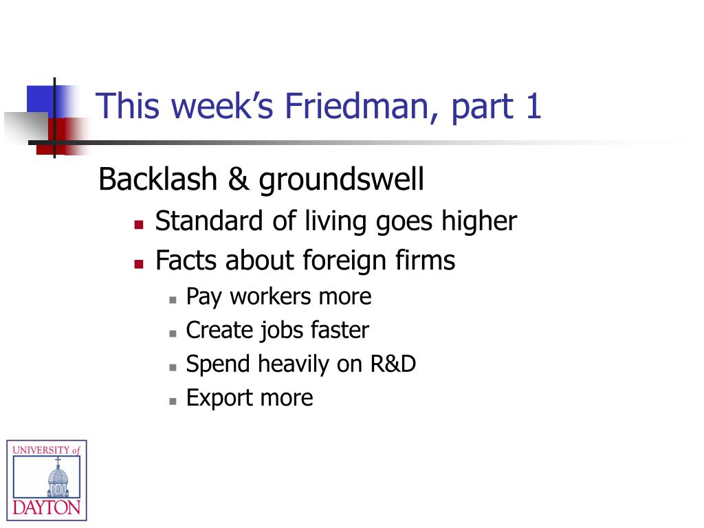 This week's Friedman, part 1